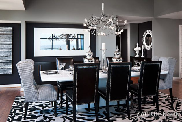 Beautiful Black And White Dining Room With Black And White Dining Room.